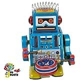 Petit robot bleu tambour mecanique en tole a cle Jouets mecaniques en fer blanc