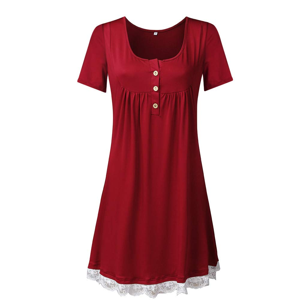 Haalife◕‿Women's Sleeveless Pockets High Low Pleated Casual Pleated Swing Beach Dress Wine by HAALIFE Women's Clothing