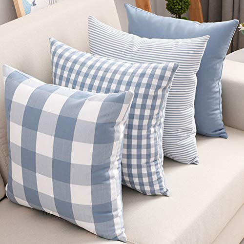 DEZENE Set of 4 Throw Pillow Covers for Couch - Soft Polyster Cotton,Simple Geometric Pattern - Decorative Sofa Cushion Covers,Square Pillow-Cases for Living Room,Bedroom,Car(Blue,18 x 18 Inch)