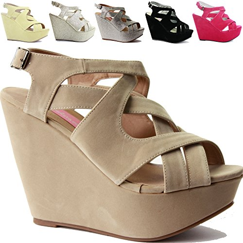 WOMENS LADIES STRAPPY HIGH HEELS PLATFORM BRIDAL WEDDING WEDGE PEEPTOE PARTY SANDALS SHOES SIZE 3-8 Cream Suede uXCPoLumQv