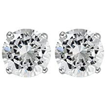 Sterling Silver Cubic Zirconia White, Yellow, Rose 3-10MM Round Solitaire Stud Earrings