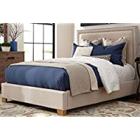 Donny Osmond Home 300570Q Madeleine II Collection Fabric Queen Bed, Brown