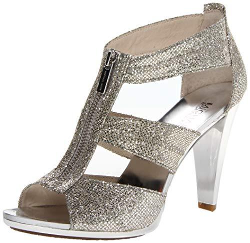 Michael Michael Kors Women's Berkley T-Strap Silver Glitter Platform 6.5 M