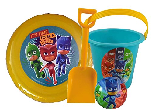 Mask Disc - Pj Masks Inspired 4pc Summer Bucket of Fun! Includes Pail, Shovel, Frisbee Flying Disc & Foam Ball!