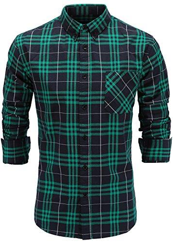 Emiqude Mens 100% Cotton Slim Fit Long Sleeve Button Down Plaid Shirt