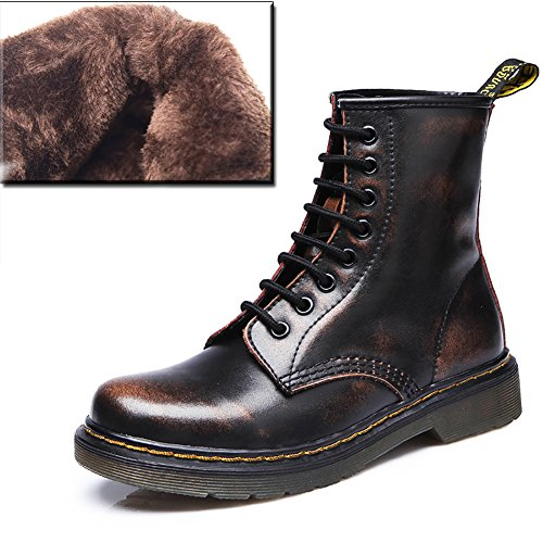 Town Cow Leather Brown Boots Boot Martin No 66 fleece Up Combat Lace wtTHx5OEq