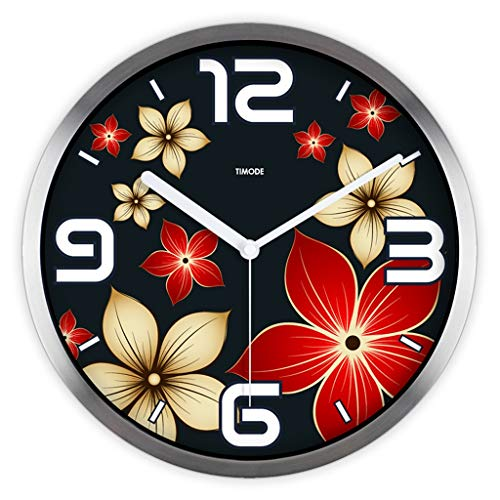 - Ultra Time Empty 12-inch Wall Clock Living Room Art Deco Silent Wall Clock European-Style Painting Bell Red Flowers (Color : C)