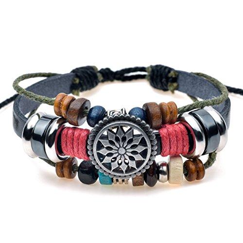 Celokiy Unique Totem of The Sun Handmade Braided Adjustable Leather Bracelet