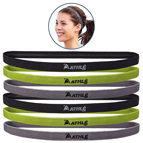 Athlé Skinny Sports Headbands 6 Pack - Men's and Women's Elastic Hair Bands With Non Slip Silicone Grip - Lightweight And Comfortable Sweatbands Keep You Cool and Dry – Black, - Grips Thin