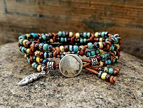Beaded Leather Wrap Bracelet Womens Wrap