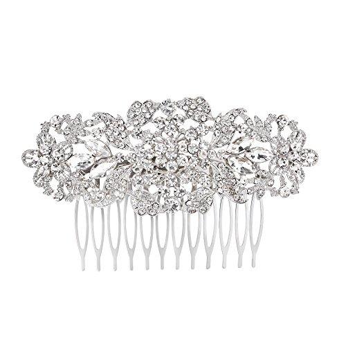 Multi Austrian Crystal - FANZE Women's Austrian Crystal Multi Flower Leaves Wedding Bridal Hair Comb Headpiece