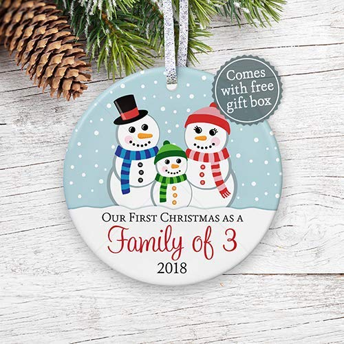 Christmas Gifts For New Parents.First Christmas As A Family Of Three Ornament 2018 1st Christmas As Mommy Daddy 2018 New Parents New Baby Snowman Adoption Gift 3 Flat Ceramic