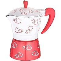 RLFS Red Heart Impreso Coffee Maker Aleación de aluminio Espresso Mocha Coffee Pot Kit