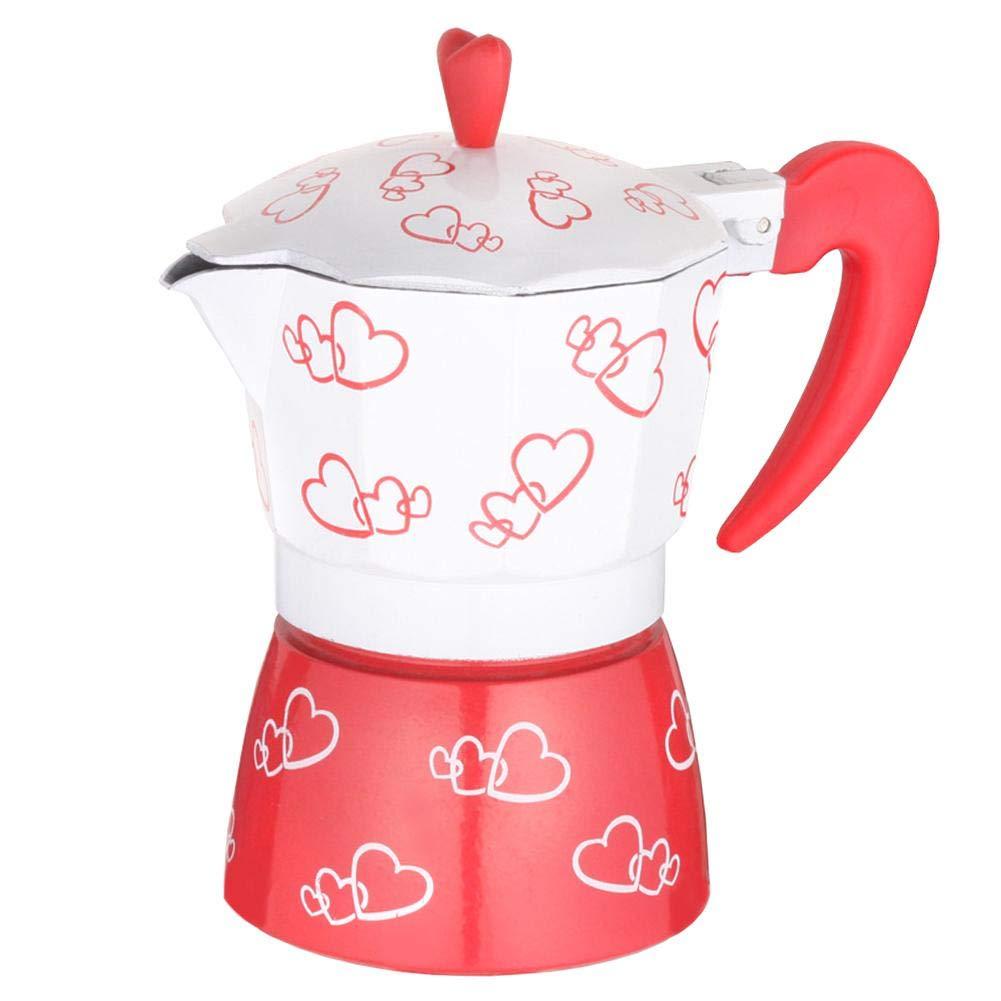 Demiawaking 3-Cup Espresso Coffee Maker Aluminum Heart Print Italian Coffee Maker Moka Pot Latte Percolator Stove Top (150ml) DemiawakingUK