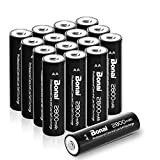 Bonai 16 Pack 2800mAh AA Rechargeable Batteries 1.2V Ni-MH Low Self Discharge - UL Certificate