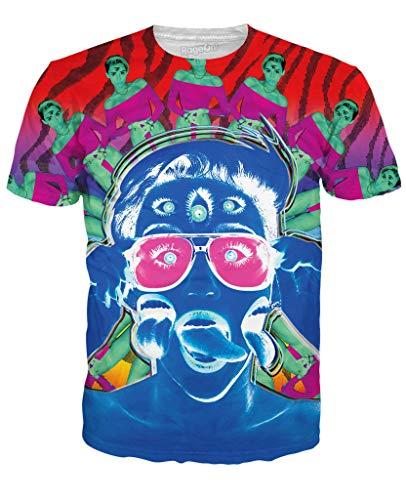 RageOn Buddha Pop Miley Cyrus Seapunk Psychedelic Premium All Over Print T-Shirt Slate Blue