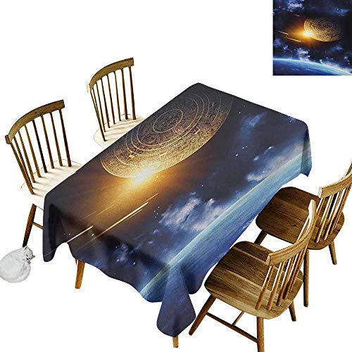 (DONEECKL Galaxy Home Decoration Tablecloth Anti-Overflow Tablecloth Maya Calendar with Outer Space Background with Earth Mystical Astral Meteor View Blue Yellow W70 xL120)