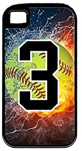Flaming Softball Sports Fan Player Number 3 Black Rubber Hybrid Tough Case Decorative iPhone 6 4.7 Case