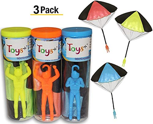 Toy Skydiver Parachute Men 3 Piece Set- Tangle Free (Colors and Styles May Vary)