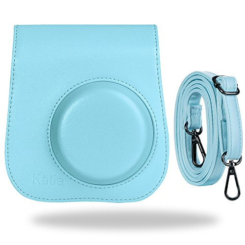 Katia Vintage Pu Leather Bag for Fujifilm Instax Mini 9/8+/ 8 with Shoulder Strap and Pocket (Sky Blue)