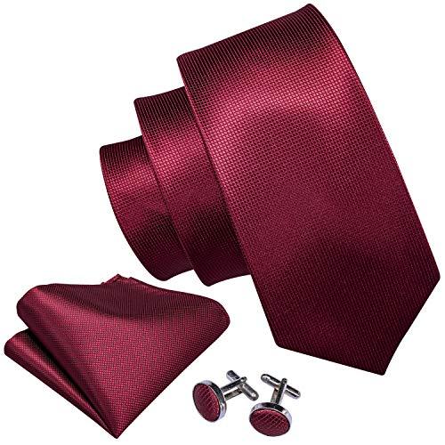 Barry.Wang Wedding Groomsmen Ties Burgundy Handkerchief Cufflink Set