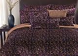 Thro Ltd. Fall Cheetah Collection Microluxe King Comforter Set, Purple/Brown