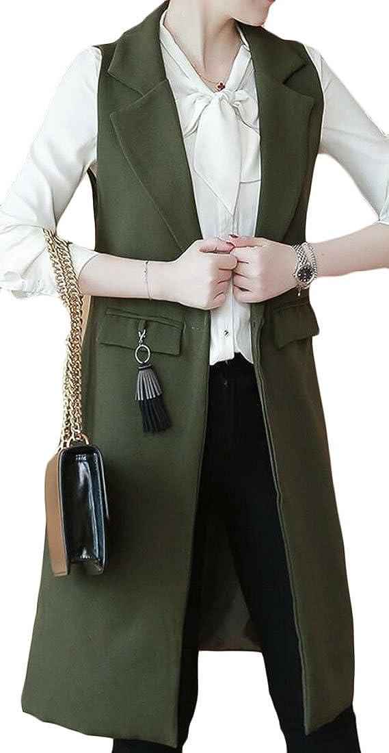 WSPLYSPJY Women's Sleeveless Oversized Open Longline Duster Blazer Jacket Coat