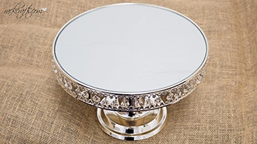 rackcrafts.com Metal Acrylic Crystal Round Mirror Pedestal Cake Stand Center Piece Display Platform