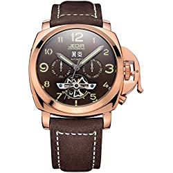 Soleasy Automatic SelfWind Men Alloy CaseMaterial Matte Leather Band Calendar Display Luminous Hands Wrist Watch WTH5297