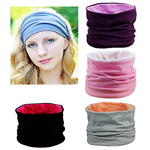 Habibee 4 Packs Wide Fashion Cotton Headbands for Women Breathable Moisture Wicking Sport Head Wraps Scarf for Workout Yoga Running