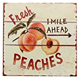 Cheap Barnyard Designs Fresh Peaches Retro Vintage Tin Bar Sign Country Home Decor 11″ x 11″