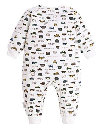 Kidsform Unisex Baby Romper Print Button Footless Bodysuit Onesie One-piece Pajamas Jumpsuit Car 6-9M