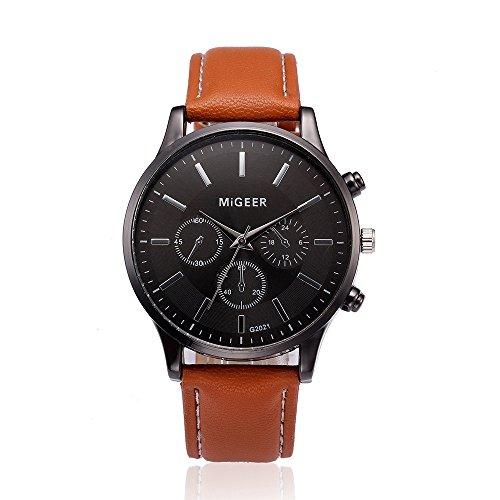 HiGOGO Men's Retro Three Timer Dials Design Leather Band Luxury Business Watch Analog Alloy Quartz Wrist Watchs Gift MIGEER (Brown)
