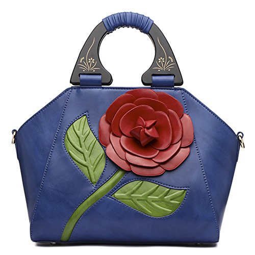 1 PU Chinese Tote Leather Handbag Flower Retro QZUnique Shoulder Rose Blue Style Bags Bags SOxqTwwF