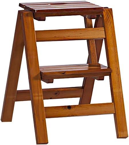 Taburete con escalera plegable 23 peldaños Taburete con peldaños de madera maciza, estante para flores Estantería para escalera doméstica Escalera pequeña de interior multifunción (color: B, tamaño: 3 peldaños) 3 peldaños: Amazon.es: Hogar