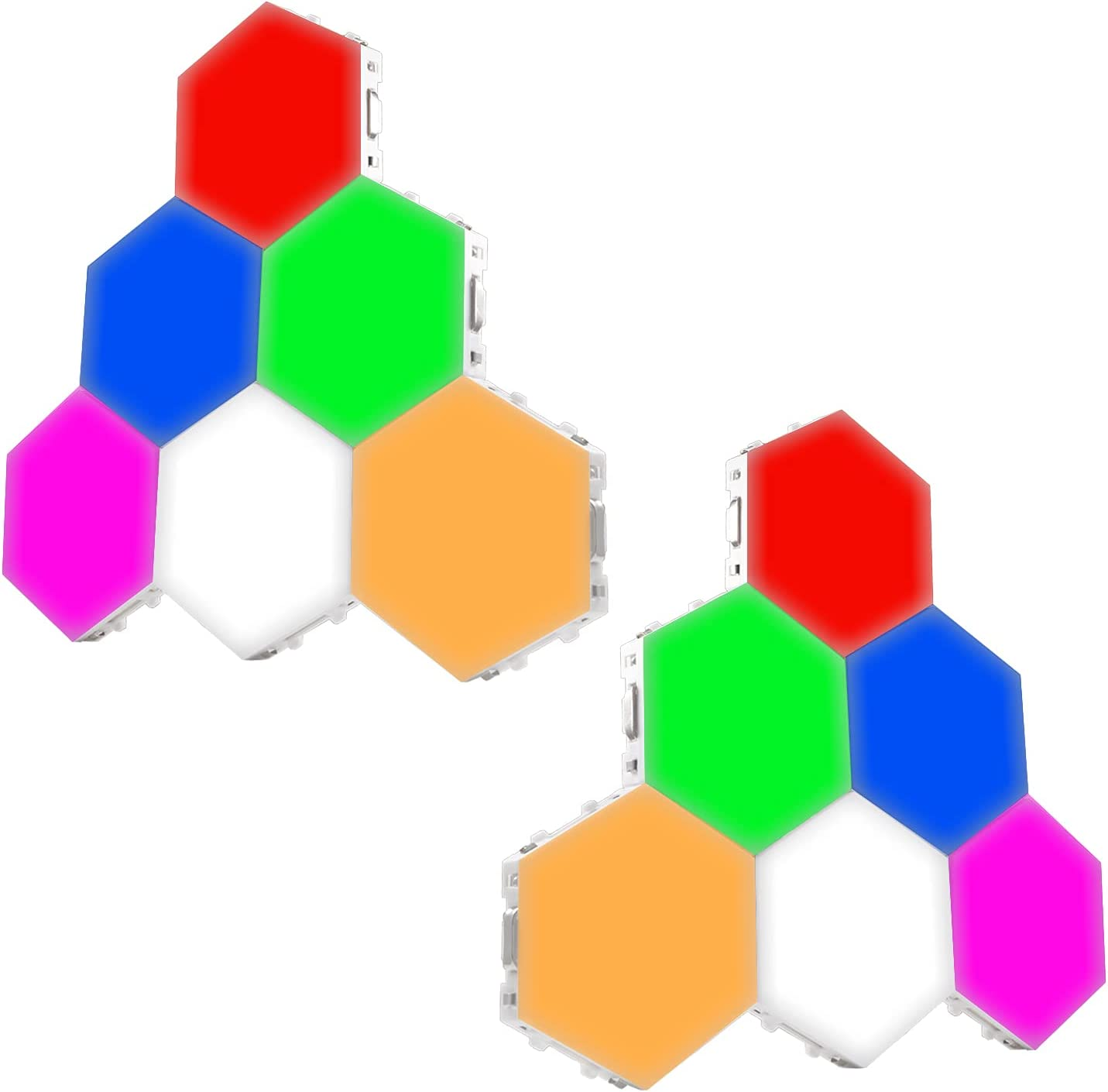LED Hexagon Lights RGB - Bright Colorful LED lamp Modular Touch Sensitive Lighting Hexagon Wall LED Light Kit, 12 Pack, Changing Colors, Touchpad Switch, Magnetic & Reusable - Clearon