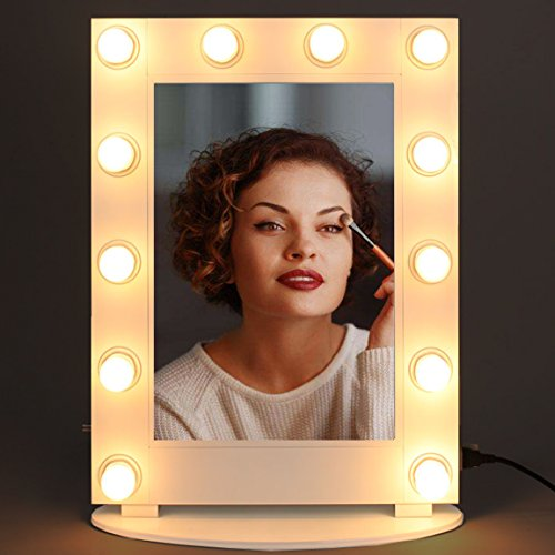 Hollywood Mirror Broadway Lighted Vanity Mirror with Lights and Dimmer (Gloss White) by Hans&Alice