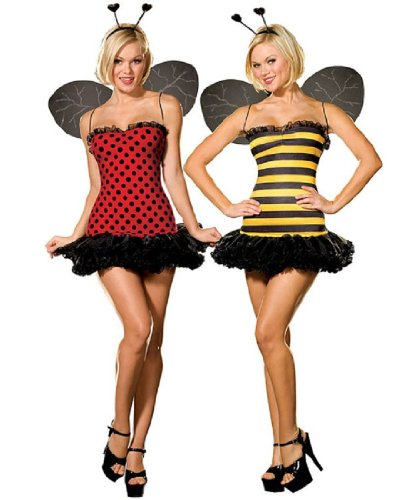 Bumble Bee Halloween Costumes Adults (Dreamgirl Women's Reversible Bumble Bee/Lady Bug Costume, Multi,)
