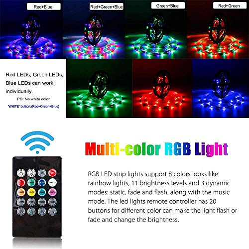 49.2ft / 15M RGB LED Strip Light, 20 Key IR Remote Music Controller, SMD 3528 RGB Color Changing Tape Light Full kit,(3x16.4ft Non-Waterproof Strip) by Firstsd (Image #2)