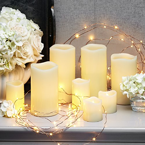 LED Flameless Candle Set of 10, Includes Real Wax Flickering Candles Votives and Tealights + 2 Packs of Battery Fairy Lights, Warm White Glow, Batteries (2 White Leds Batteries)
