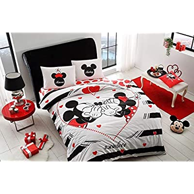 TAC 100% Cotton Double Queen Size Bedding Set Duvet Quilt Cover Set Mickey Minnie Mouse soinlove: Home & Kitchen
