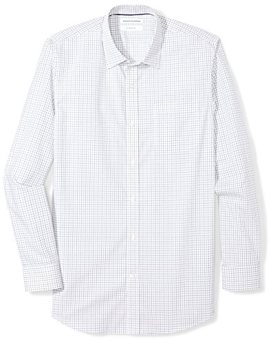 - Amazon Essentials Men's Slim-Fit Wrinkle-Resistant Long-Sleeve Dress Shirt, Blue Tattersall Plaid, 14.5