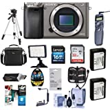 Sony Alpha A6000 Mirrorless Camera Body, Graphite - Bundle with Camera Bag, 16/32 Class 10 SDHC Cards, 2x Spare Battery, Remote Shutter Release, Tripod, Screen Protector, Software Pack, and More