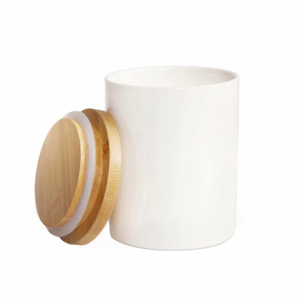 Tarro de almacenamiento de alimentos 77L, 10.13 FL OZ (300 ML), almacenamiento de cocinacon Tapa de Bambú & Anillo de Sellado de Silicona - Moderno recipiente de almacenamiento de alimentos de cerámica blanca para servir té, café y más 77-Life COMIN18J