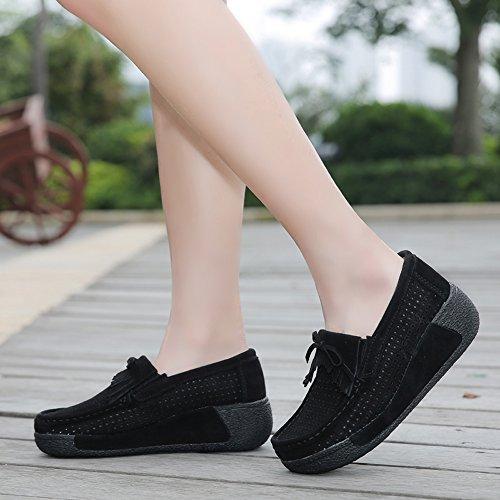 Enllerviid Enlleviid Kvinnor Slip-on Mocka Driv Mockasiner Plattform Loafers Komfort Gående Arbetsskor 1319-1 Svart