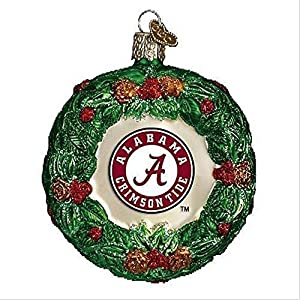 NCAA Alabama Crimson Tide Glass Wreath Ornament 18