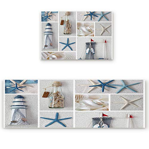 Outdoor Natural Accent Lighthouse (Kitchen Rugs and Runner Set 2 Pieces Non Skid Washable Floor Mat Carpet for Kitchen/Bedroom/Washroom,Nautical Marine Lighthouse Sail Boat Beach Starfish Shell Sea Life (19.7x31.5in+19.7x63