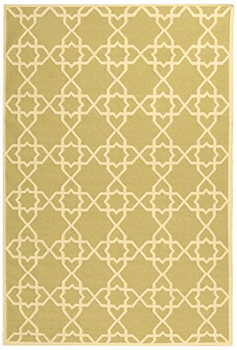 Safavieh Dhurries Collection DHU548A Hand Woven Olive and Ivory Premium Wool Runner (2'6