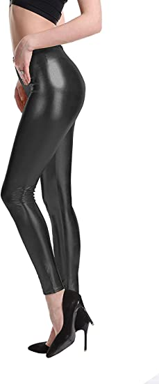 High Quality Leather Look New Shinny Stretch Disco Wet Legging Pants Size 6-20