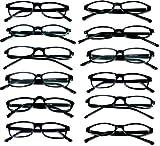 Mr. Reading Glasses [+1.75] Black Plastic Frame Assorted Style Unisex 12 Pack of Reading Glasses - Black +1.75 Power